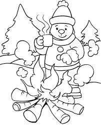 winter coloring page printable warming with fire in winter