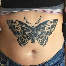 stomach butterfly tattoos