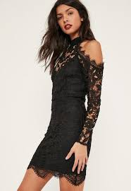 cold shoulder dress black cold shoulder lace bodycon dress missguided
