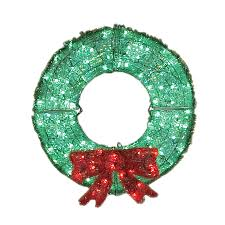 shop living 3 ft plastic green led wreath at lowes