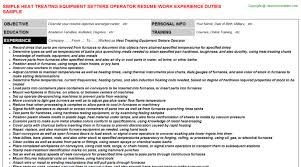 Forklift Operator Resume Examples by Heat Treating Equipment Setters Operator Resume Sample