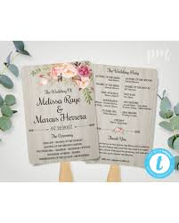 wedding ceremony fan programs bargains on diy wedding program fan template bohemian floral