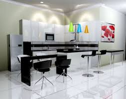 kitchen open black and white kitchen featuring 5 glass pendant