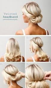 hair tutorials for medium hair 10 updo hairstyle tutorials for medium length hair headband updo