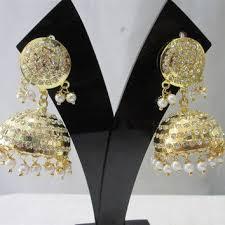 punjabi jhumka earrings handmade jadau golden jhumki from beauteshoppe on etsy