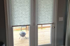 White Wood Blinds Bedroom Interior French Door With Grey And White Striped Curtain Hanging