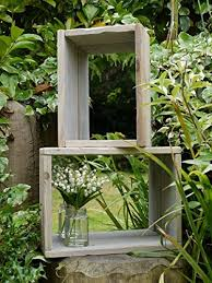 two rustic wooden garden wall shelf boxes display units with