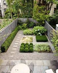 Landscaping Ideas For Small Backyards by Grey Stamped Concrete Patio With Unique Shrubs For Modern