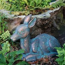fawn garden ornament small garden ornaments uk candle and blue