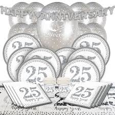 25th silver wedding anniversary party supplies partyrama