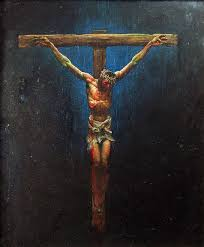 color painting of jesus on the cross by simon bisley simon