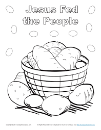 bible coloring page for kids jesus feeds 5000