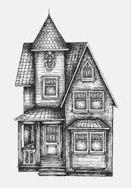 haunted house art illustration drawing gebouwen kleuren