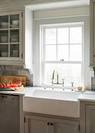 Farm Sink With Backsplash by Light Gray Kitchen Cabinets With Farm Sink Cottage Kitchen
