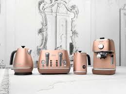 rose gold appliances delonghi distinta copper kitchen appliances are amazing ranges