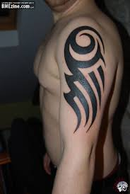 tribal and military tattoos on upper arm for men photos