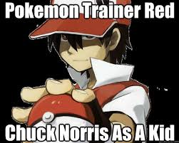 Chuck Norris Pokemon Memes - pokemon trainer red chuck norris as a kid red is chuck norris