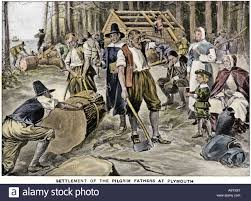 pilgrims thanksgiving history pilgrims cutting forests and building houses at plymouth colony