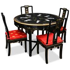 Kitchen Tables And More by 48in Black Lacquer Dining Table With 4 Chairs Dining Sets