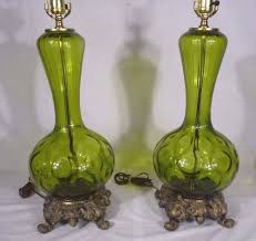 pr vintage mid century green blown glass table lamps hollywood