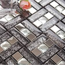 Silver Stainless Steel  Glass Blend Metal Tile Sheets Diamond - Glass and metal tile backsplash