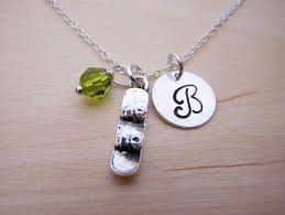 Personalized Sterling Silver Necklace Snowboard Charm Swarovski Birthstone Initial Personalized Sterling