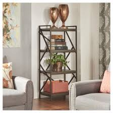 iron off the living room wood bookcase shelves display showcase flower jewelry rack shelf ikea inspire q logan geometric cutout side étagère bookshelf 56 25
