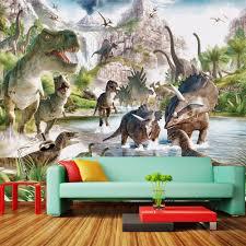 popular dinosaur wall murals buy cheap dinosaur wall murals lots custom poster photo wallpaper wallcovering jurassic dinosaur world 3d wall mural wallpaper for bedroom walls papel