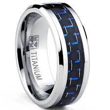 ring titanium oliveti men s titanium black and blue carbon fiber comfort fit