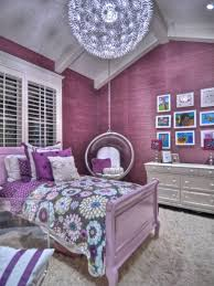 purple bedroom decor ideas with ceiling swings and ball pendant