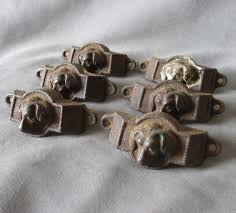 6 antique victorian cast iron handles drawer pulls with dog heads