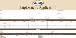 a u0026 w job application printable job employment forms