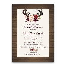floral bridal shower invitations deer antlers burgundy