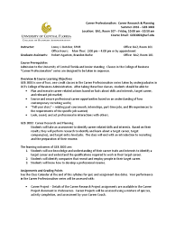 Ucf Resume Syllabus Career Research And Planning Summer 2016 Academic