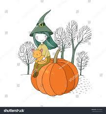 halloween background leaves autumn theme halloween hat cat stock vector 477678364