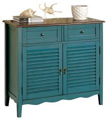 Turquoise Cabinet Spacious Storage Cabinet Double Drawers Dual Hidden Shelves Louver