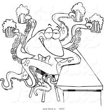 vector of a cartoon octopus bartender serving beer coloring page