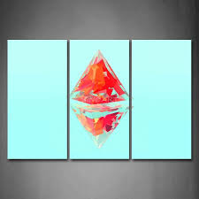 light blue wall art 3 piece wall art painting light blue background two red triangles