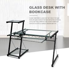 Glass Desk With Storage Glass Desk Tables Awesome Realspace Zentra Computer Desk
