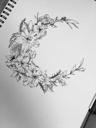 thigh tattoo sketches this ones for me floral moon design flowers pinterest moon