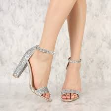 wedding shoes sandals women s silver glitter wedding shoes open toe chunky heels sandals