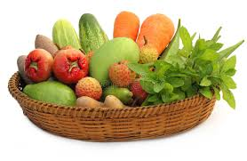 fruit and vegetable baskets tropical fruits and vegetables on a basket stock photo image of