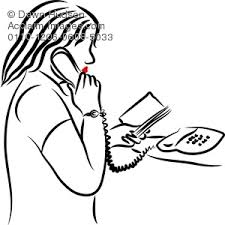 line drawing of a portrait of a woman talking on the telephone