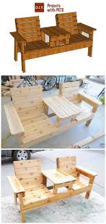 diy double chair bench with table free plans instructions outdoor
