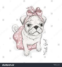 puppy pug bow skirt phrase little stock vector 615904889
