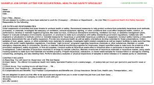 Occupational Health And Safety Resume Examples by Occupational Health And Safety Specialist Offer Letter
