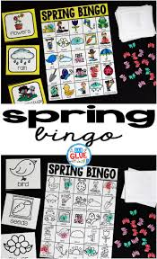 bingo sheets for spring a dab of glue will do