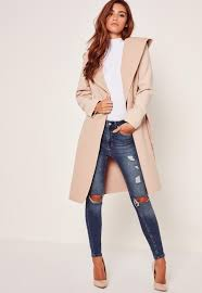 hooded faux wool duster coat camel missguided