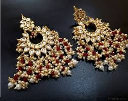 chandbali earrings kundan chandbali earrings with clustered maroon and pearl