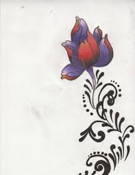 red purple asian flower tattoo w tribal design by delta ookami on